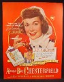 Magazine Ad For Chesterfield Cigarettes, Jane Wyman, Celebrity Endorsement, 1948