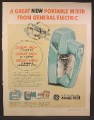 Magazine Ad For GE General Electric Portable Mixer, Teal Blue, 1957