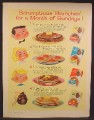 Magazine Ad For Aunt Jemima Pancake Mixes, 4 Boxes, Wheat Cakes, Buckwheat, 1960