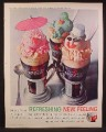 Magazine Ad For Coke Coca-Cola, Ice Cream Floats, Metal Glass Holders, Snowman, 1962