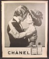 Magazine Ad For Chanel No 5 Perfume, Fragrance, Man & Woman With Hair Tied Up On Top, 1970
