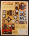 Magazine Ad For Caravelle Cordless Electric Wall Clocks, 23 Models Pictured, 1972
