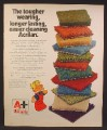 Magazine Ad For Monsanto Acrilan Carpet, Dennis The Menace Cartoon, Stack of Samples, 1973