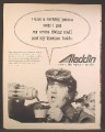 Magazine Ad For Aladdin Thermos, Buddy Hackett in Scuba Gear, Celebrity Endorsement, 1971