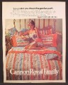 Magazine Ad For Cannon Mills Bedding, Sexy Woman in Matching Nightgown On Bed, 1976