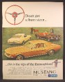 Magazine Ad For Mustang Car, 3 Models, Sign Of A Thoroughbred, Don't Get A Bum Steer, 1967