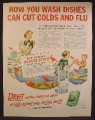 Magazine Ad For Dreft Dish Soap, How You Wash Dishes Can Cut Colds And Flu, 1949
