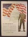 Magazine Ad For U.S. Army Recruiting Services, Soldier, Capitol Hill Dome, American Flag, 1947