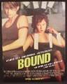 Magazine Ad For Movie, Bound, Jennifer Tilly, Gina Gershon, 1996, 9 1/2 by 12