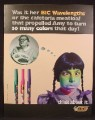 Magazine Ad For Bic Wavelength Pens, Girl Turns Green From Cafeteria Meatloaf, Funny, 1997