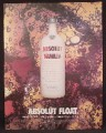Magazine Ad For Absolut Vanilla, Absolut Float, White Bottle, 2004, 9 1/2 by 12