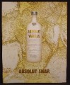 Magazine Ad For Absolut Vanilla, Absolut Snap, White Bottle, 2004, 9 1/2 by 12