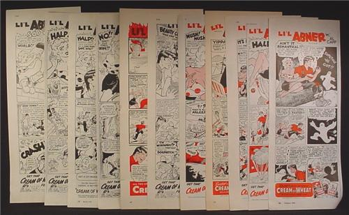 Lot of 11 Magazine Ads for Cream Of Wheat, Li'L Abner, Al Capp Cartoon Strip, 1930's 1940's 1950's