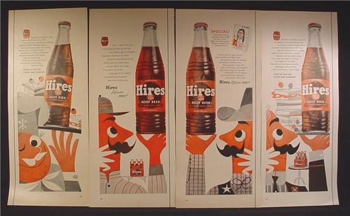 Lot of 4 Magazine Ads for Hires Root Beer Soft Drink, 1940's and 1950's, 1/2 Page ads