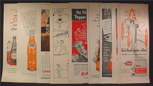 Lot of 9 Magazine Ads for Soft Drinks, 1930's 1940's and 1950's, 1/2 Page ads, No Duplicates