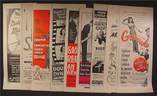 Lot C of 9 Magazine Ads for Movies, 1930's 1940's and 1950's, 1/2 Page ads, No Duplicates
