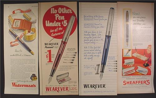 Lot of 4 Magazine Ads for Pens, Waterman's, Wearever, Shaeffer's, 1940's and 1950's, 1/2 Page ads