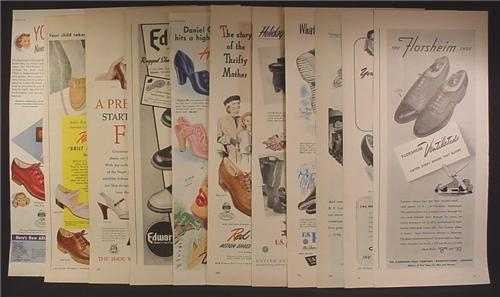 Lot of 10 Magazine Ads for Shoes, Men's Women's Kids, 1930's 1940's and 1950's, 1/2 Page ads
