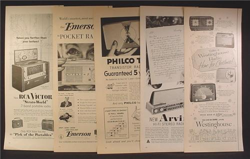 Lot of 5 Magazine Ads for Radios, Portable, Table, Westinghouse, RCA, Emerson, 1940's 1950's