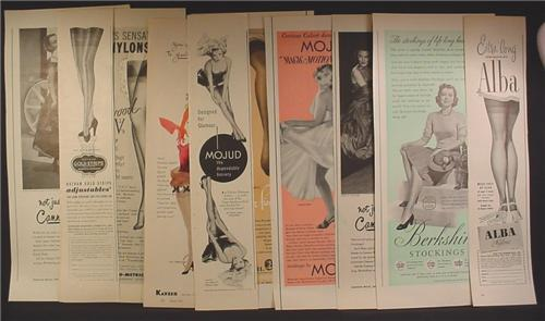 Lot of 10 Magazine Ads for Nylons, Hosiery, Alba, Mojud, Cannon, Gold Stripe, 1930's 1940's 1950's