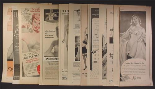 Lot of 14 Magazine Ads for Lingerie, Bras, Maidenform, Spur-Lo, Munsingwear, 1930's 1940's 1950's