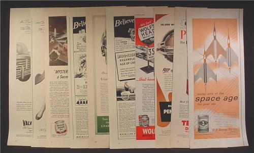 Lot of 10 Magazine Ads for Motor Oil, D-X Sunray, Pennsylvania, Wolf's Head, 1930's 1940's 1950's