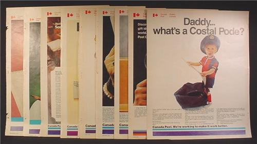 Lot of 9 Magazine Ads for Canada Post, 1973 and 1974, They Are All Different, No Duplicates