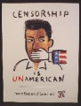 Magazine Ad For Censorship Is Unamerican, Rock The Vote, 1998, 8 1/8 by 10 7/8