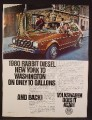 Magazine Ad For VW Volkswagen Rabbit Diesel Car, New York To Washington on 10 Gallons, 1980