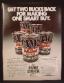 Magazine Ad For Cam2 Mileage Motor Oil, Cans, Rebate Offer, 1980, 8 1/8 by 10 7/8
