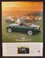 Magazine Ad For MGB Convertible Green Car, Field With Classic Cars, 1980, 8 1/8 by 10 7/8