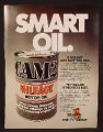 Magazine Ad For Cam2 Mileage Motor Oil, Single Large Oil Can, 1980, 8 1/8 by 10 7/8