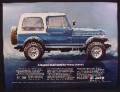 Magazine Ad For Jeep CJ Renegade Car, Blue with White Roof, Icicles, 1981, 8 1/8 by 10 7/8