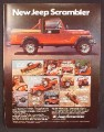 Magazine Ad For Jeep Scrambler Truck, Red, Side View, 1981, 8 1/8 by 10 7/8