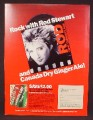 Magazine Ad For Canada Dry Ginger Ale, Rod Stewart Camouflage Album, 1984, 8 1/8 by 10 7/8