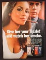 Magazine Ad For Tipalet Cigars, Sexy Woman With Cleavage, Watch Her Smoke, 1970