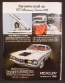 Magazine Ad For 1971 Mercury Comet GT Car, Front & Side View, Interior, 1970, 8 1/4 by 11 1/8