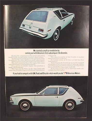 Magazine Ad For 1971 AMC Gremlin Car, American Motors, Rear & Side Views, 1970