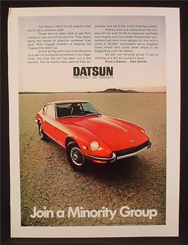 magazine ad for datsun 240 z red car 240 z 240z front. Black Bedroom Furniture Sets. Home Design Ideas