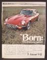 Magazine Ad For Jaguar V-12 Car, V12, V 12, Born The 12 Cylinder Animal, Front & Side View, 1971