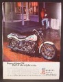 Magazine Ad For Harley Davidson Super Glide FX Motorcycle, Call It The Night Train, 1971