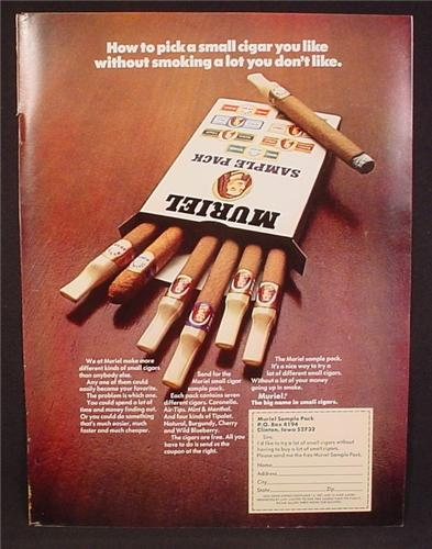 muriel tipalet cigar advertisement In 1968, the cigar institute, an industry trade organization, promoted slimmer cigars as a new trend among youth in a life magazine ad campaign (figure 1) [ 16] in 1970 [28] consolidated subsidiary muriel cigars's tipalet followed with cigars in cherry, burgundy, and natural (tobacco) flavours the 1968.