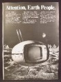 Magazine Ad For Panasonic Futuristic Looking Orbitel TR-005 Television, TV Set, TR 005, 1971