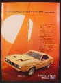 Magazine Ad For Ford Mustang Mach 1 Car, Front & Side Views, Control & Balance, 1972