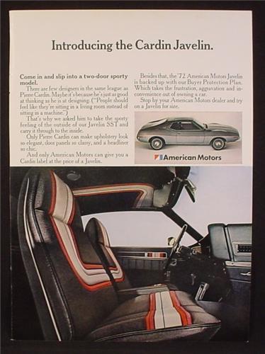 Magazine Ad For AMC Cardin Javelin Car, Pierre Cardin Designed Interior, American Motors, 1972