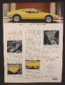 Magazine Ad For Ford Lincoln Mercury De Tomaso Pantera, Yellow Sports Car, 1972