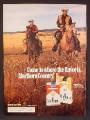 Magazine Ad For Marlboro Cigarettes, 3 Cowboys Riding Across Prairie, 1972, 8 1/4 by 11 1/8