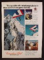 Magazine Ad For Canadian Club Whiskey, Kiting Off Glacier In New Zealand, 1972, 8 1/4 by 11 1/8