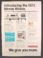 Magazine Ad For 1973 Minnie Winnie Winnebago Mini Motor Home, 1972, 8 1/4 by 11 1/8