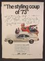 Magazine Ad For AMC Hornet Hatchback Car, Has Levi Denim Interior, , 1973, 8 1/4 by 11 1/8